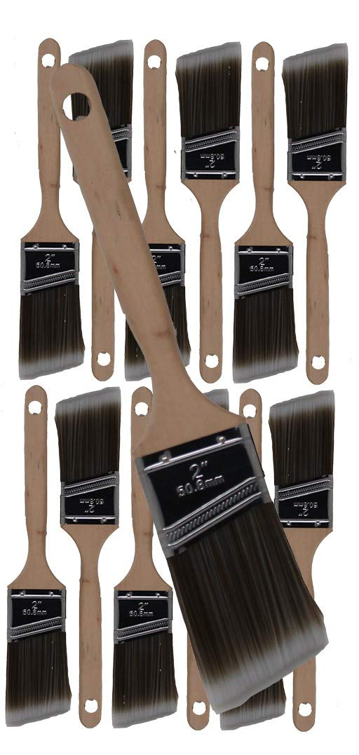 12 Piece 2'' Angle Sash House Paint Brush Set. Professional Painters and Home Owners. Wall Paint Brushes, for Decks,Fences,Trim,Interior and Exterior. Commercial or Residential Paint Brush Set.
