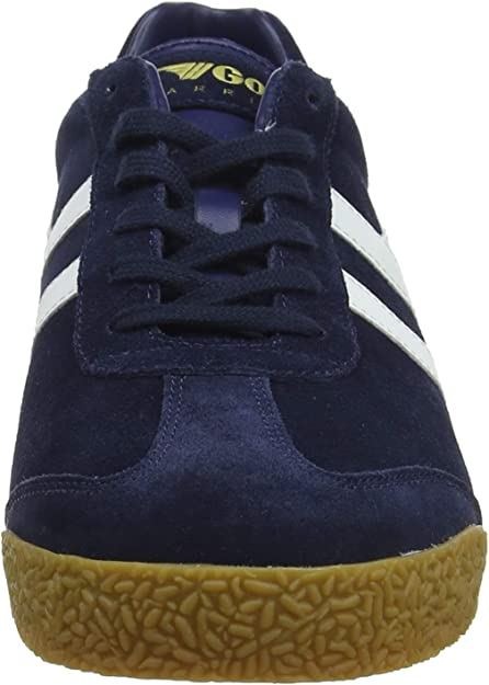 Gola Harrier Suede CMA192 Mens Blue Suede Lace Up Low Top Trainers Shoes