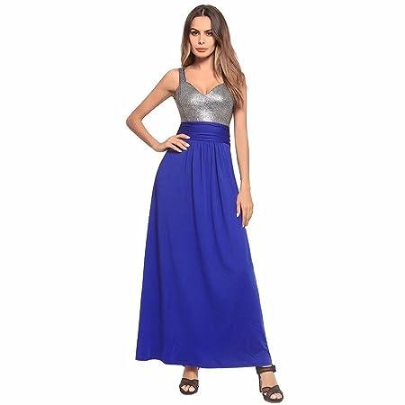 NSSBZZ Mujer Hermosa Una Falda Larga con Una Costura Vestido Azul ...