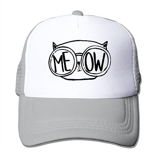 0bf46e693a8b7 SHINENGST Meow Cat Glasses Nerdy Love Mesh Trucker Caps Hats Adjustable For  Unisex Ash