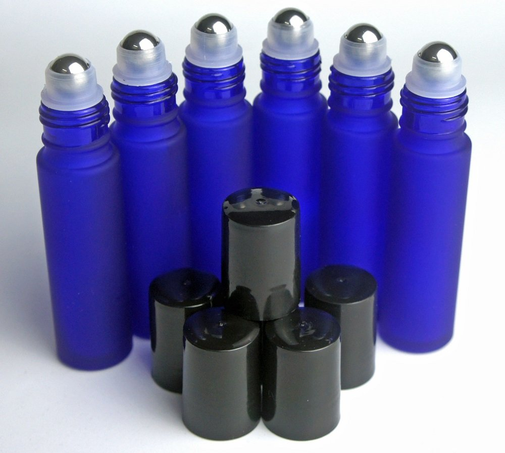 10ML Cobalt Frosted Blue Glass Bottle with Metal Ball Roll-on Applicator and Black Cap - Set of 6
