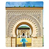 VROSELV Custom Blanket Arabian Traditional Moroccan Architecture in African Islamic East Style with Carving and Flower Photo Soft Fleece Throw Blanket Multi