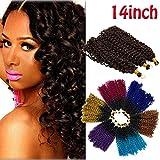Marlybob Crochet Braids Hair Extension Two-Tone Ombre Deep Wave Afro Kinky Jerry Curl Bohemian Bulk Braiding Dreadlocks Weave for Black Women 14inch 3 lots/pack 270g-Black to Grey