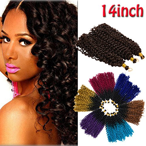 Mambo Twist Synthetic Marlybob Crochet Hair Hair Extension Two-Tone Ombre Water Wave Afro Kinky Curly Bulk Braiding Dreadlocks Weave for Black Women 14inch 3 lots/pack 270g-Black to Light Brown