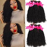 Hermosa 10A Brazilian Curly Hair 3 Bundles Good Quality Curly Weave Brazilian Human Hair Bundles Unprocessed Brazilian Virgin Hair Black Color 10 12 14inch