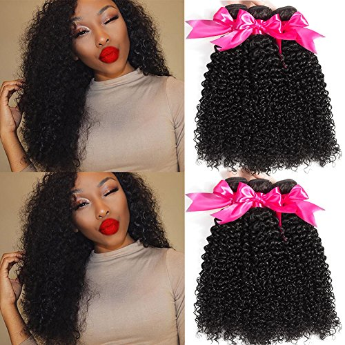 Hermosa Brazilian Curly Hair 3 Bundles Double Weft Curly Weave Human Hair Bundles 10A Unprocessed Brazilian Virgin Hair Black Color 14 16 18inch