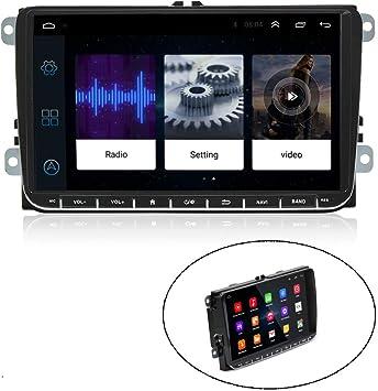 CAMECHO Android Radio para Coche Pantalla táctil de 9 Pulgadas Navegación GPS Estéreo Bluetooth USB Reproductor para VW Passat Golf MK5 Metta Jetta T5 EOS Polo Touran Seat Sharan: Amazon.es: Electrónica