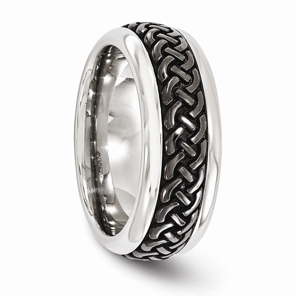 Bridal Wedding Bands Fancy Bands Edward Mirell Stainless Steel and Black Ti Casted 9mm Band Size 12.5