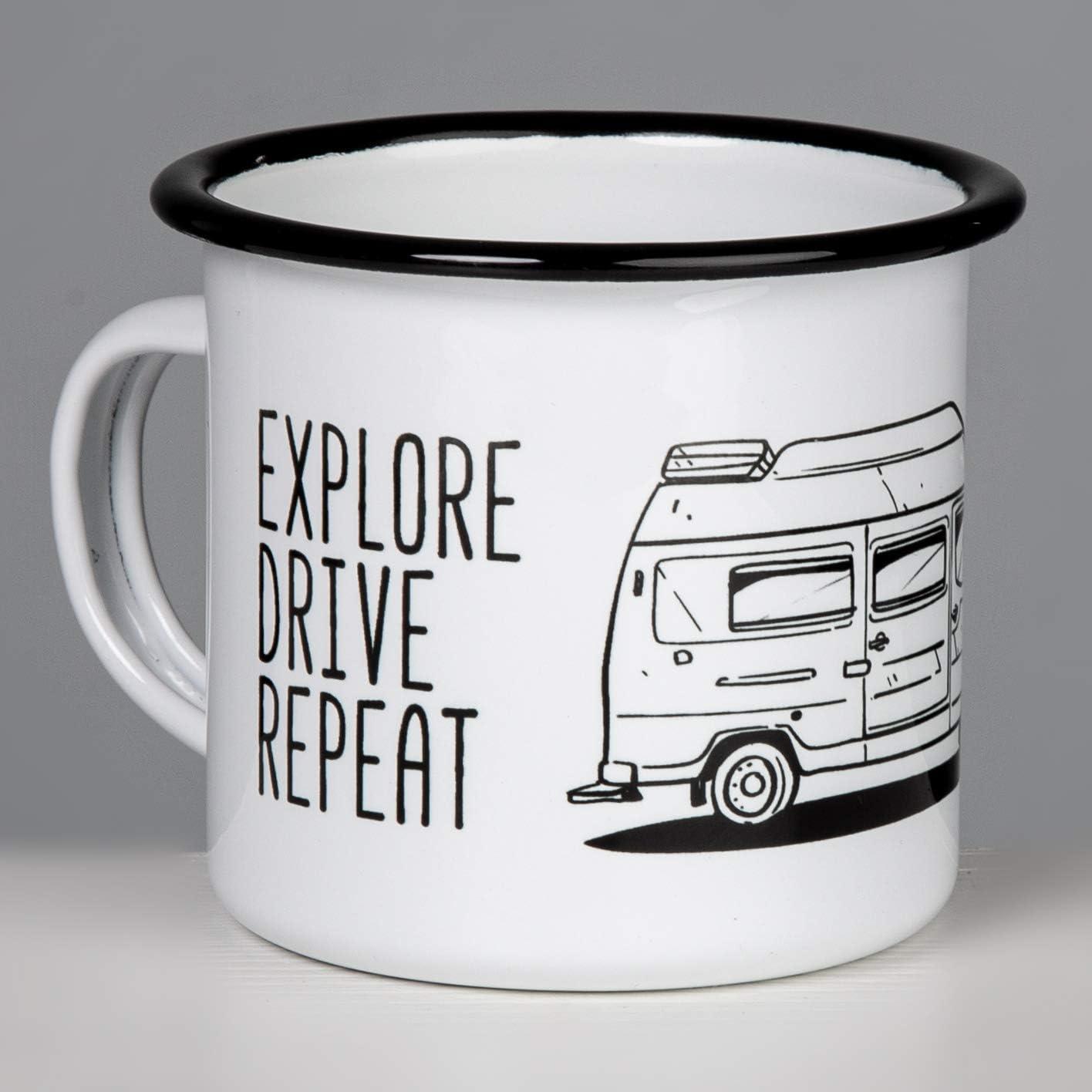 307 Explore Drive Repeat Vanlife per Campeggio di MUGSY.de. Eat Sleep Camp James Cook Westfalia Tazza Smaltata di Alta qualit/à con Mercedes Benz Camper Leggera e Robusta Bremer