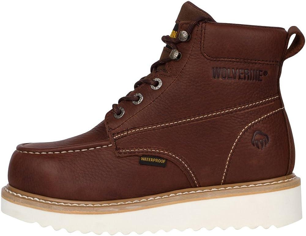 7.5 W US, Brown Wolverine Mens WP Steel Toe Wedge Boot