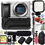 Sony a6300 alpha 4K 24.3MP Mirrorless Camera Body w/ APS-C Sensor - Silver (ILCE6300/S) - 64GB Battery Grip & Shotgun Mic Pro Video Bundle