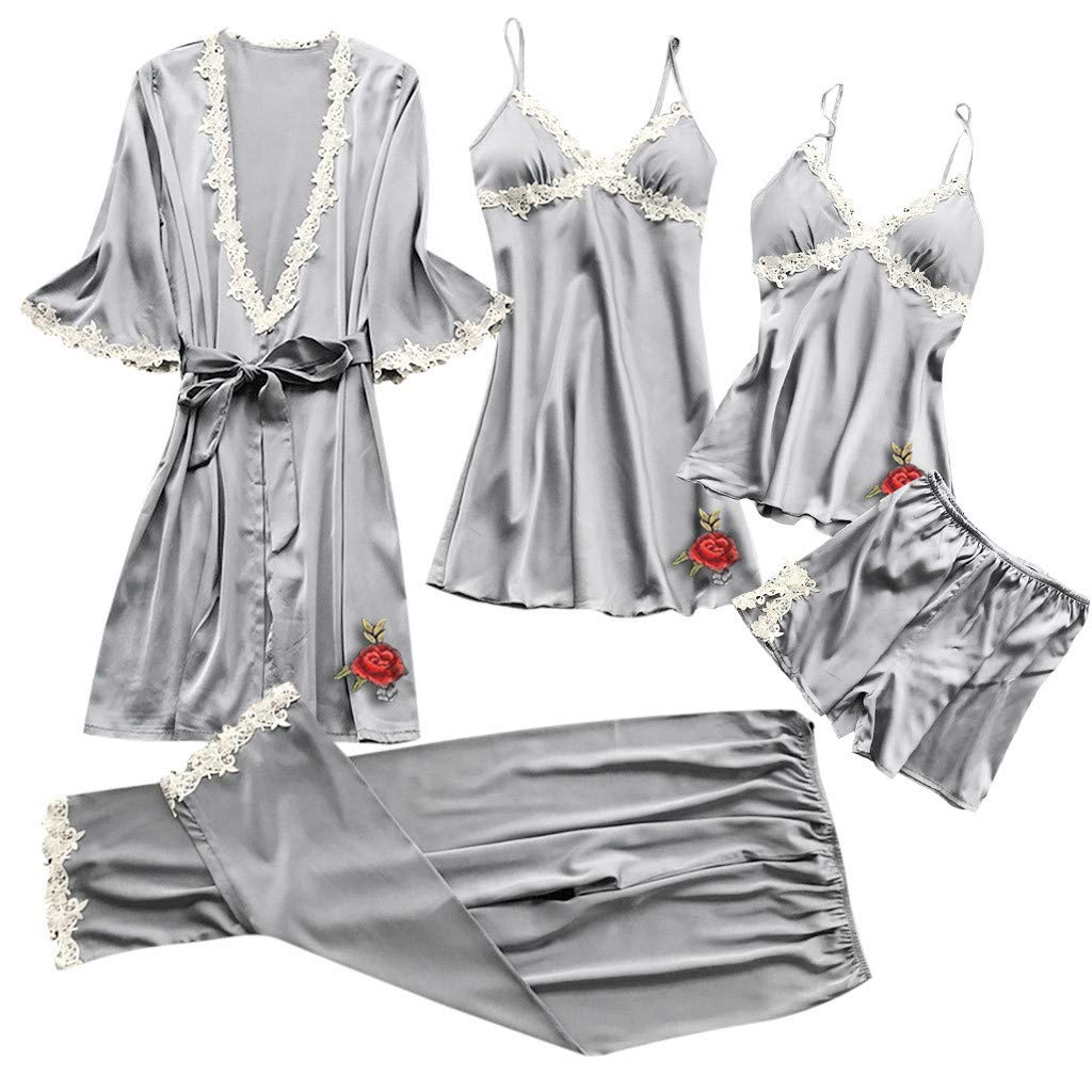 Coupondeal Women Sexy Lace Lingerie Nightwear Underwear Babydoll Sleepwear Dress 5PC Suit (x Gray,S=Bust: 68-80cm/26.8-31.5'') by Coupondeal