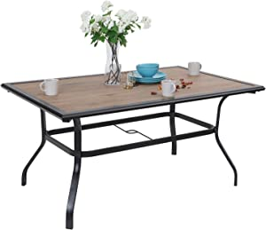 Patio Dining Table 6 Person Umbrella Table for Outdoor Garden Lawn Pool Sturdy Steel Frame Wood Like Weather-Resistant Coffee Bistro Table (1 Table)