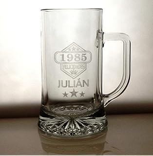 Calledelregalo Regalo Personalizable: Jarra de Cerveza Baviera grabada con el Nombre y año de Nacimiento: Amazon.es: Hogar