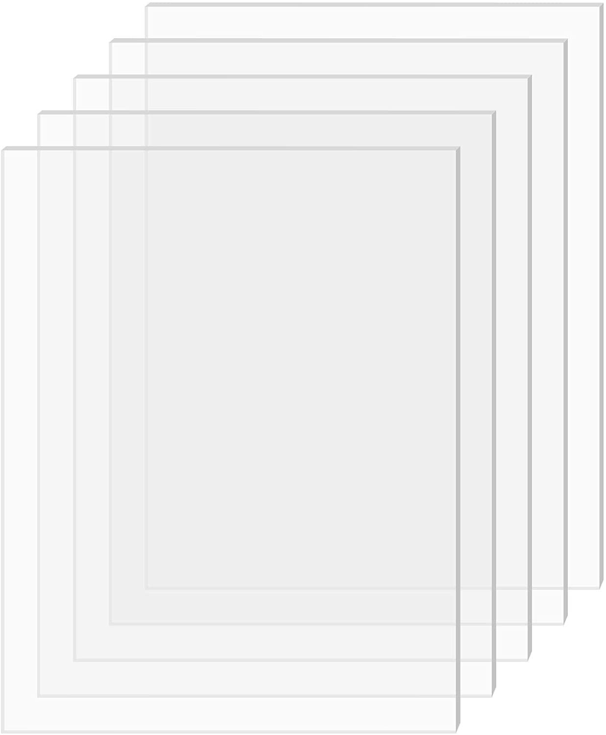 "SimbaLux Acrylic Sheet Clear Cast Plexiglass 5"" x 7"" 0.08"" Thick (2mm) Pack of 5 Transparent Plastic Plexi Glass Board with Protective Paper for Photo Frame Replacement, DIY Display Projects, Craft"