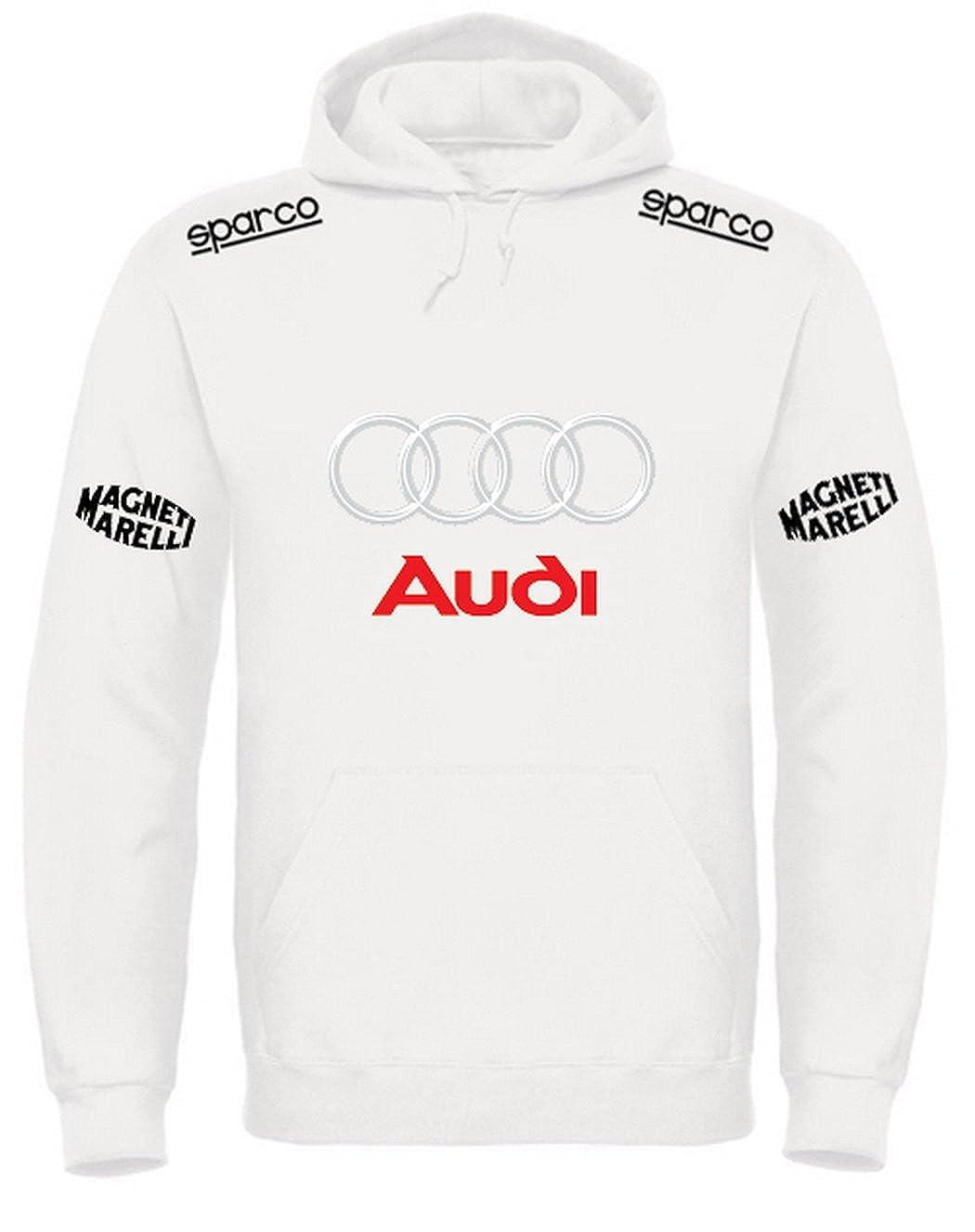 Print /& Design Felpa con Cappuccio Audi Personalizzata Bianca