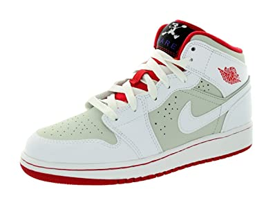 separation shoes 933f8 b5400 Jordan Nike Kids Air 1 Mid Wb Bg White True Red Light Silver