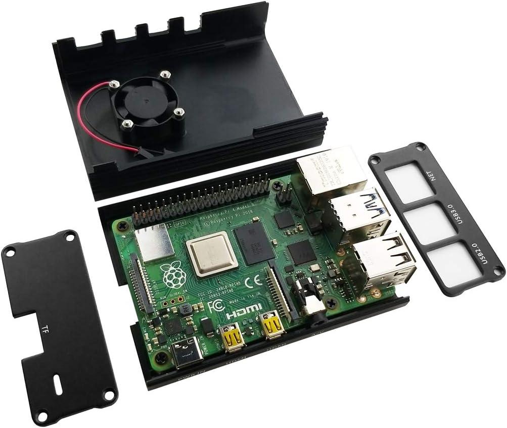 EleDuino Raspberry Pi 4 Mode B Aluminum Alloy Case with Cooling Fan Black+Fan