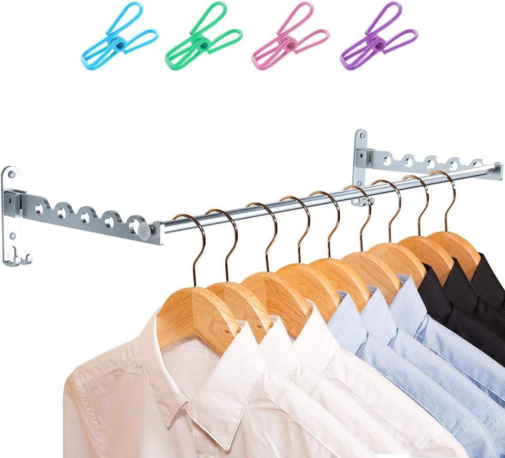 Schwarz, 1 Kleiderb/ügel Haken Garderobenhaken f/ür Waschk/üche Badezimmer Badezimmer Balkon LIVEHITOP Wand Kleiderst/änder Klappbar