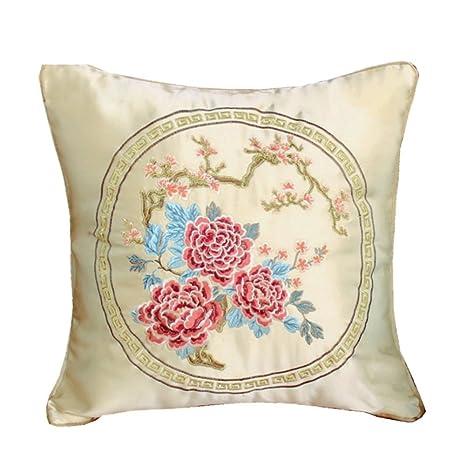 ZHAS Bordados de madera maciza de estilo chino sofá cabecera almohada Cojín de respaldo con cojín