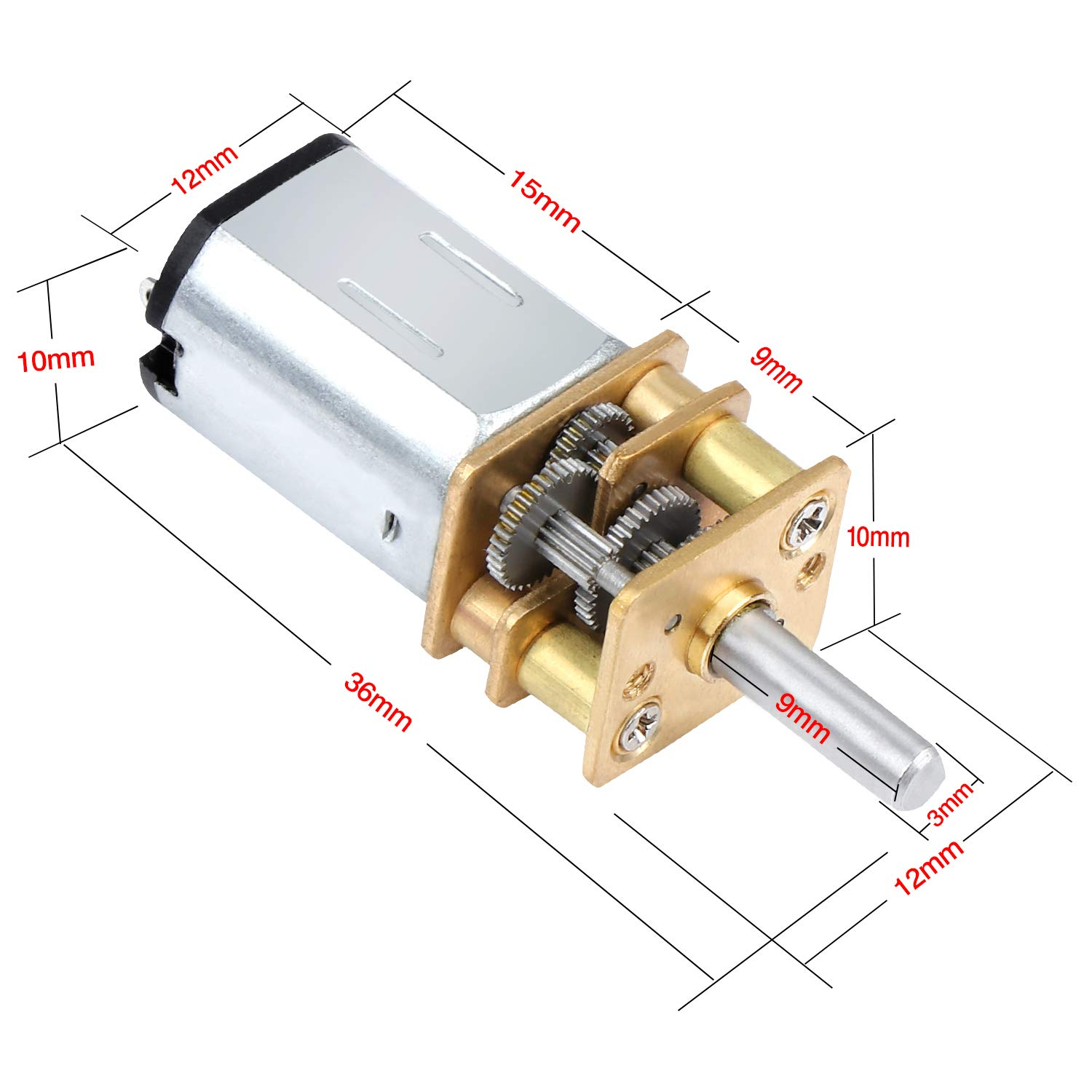 Aussel DC 6V 30RPM Mini Gear Box Motor 3-Pack for RC Car Robot Model DIY Engine Toy Micro Speed Reduction Motor with 2 Terminals