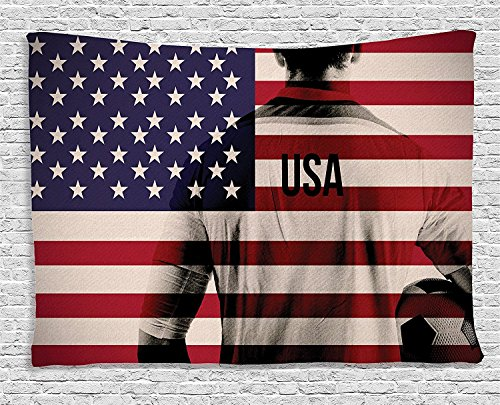 Sports Decor Tapestry, Composite Double Exposure Image of A Soccer Player and American Flag National Usa Run, Wall Hanging for Bedroom Living Room Dorm, 60 W X 40 L, Beige ()