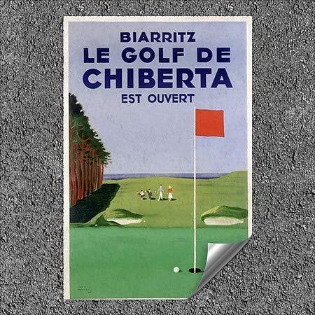 Vintage Poster Outdoor Contour Wall Decor CGSignLab ah7177-fin/_5gfxa2/_24x36/_None  Chiberta Biarritz 24x36