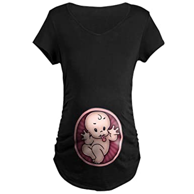 6ea00adde0 CafePress Razz Baby Cotton Maternity T-Shirt, Side Ruched Scoop Neck Black