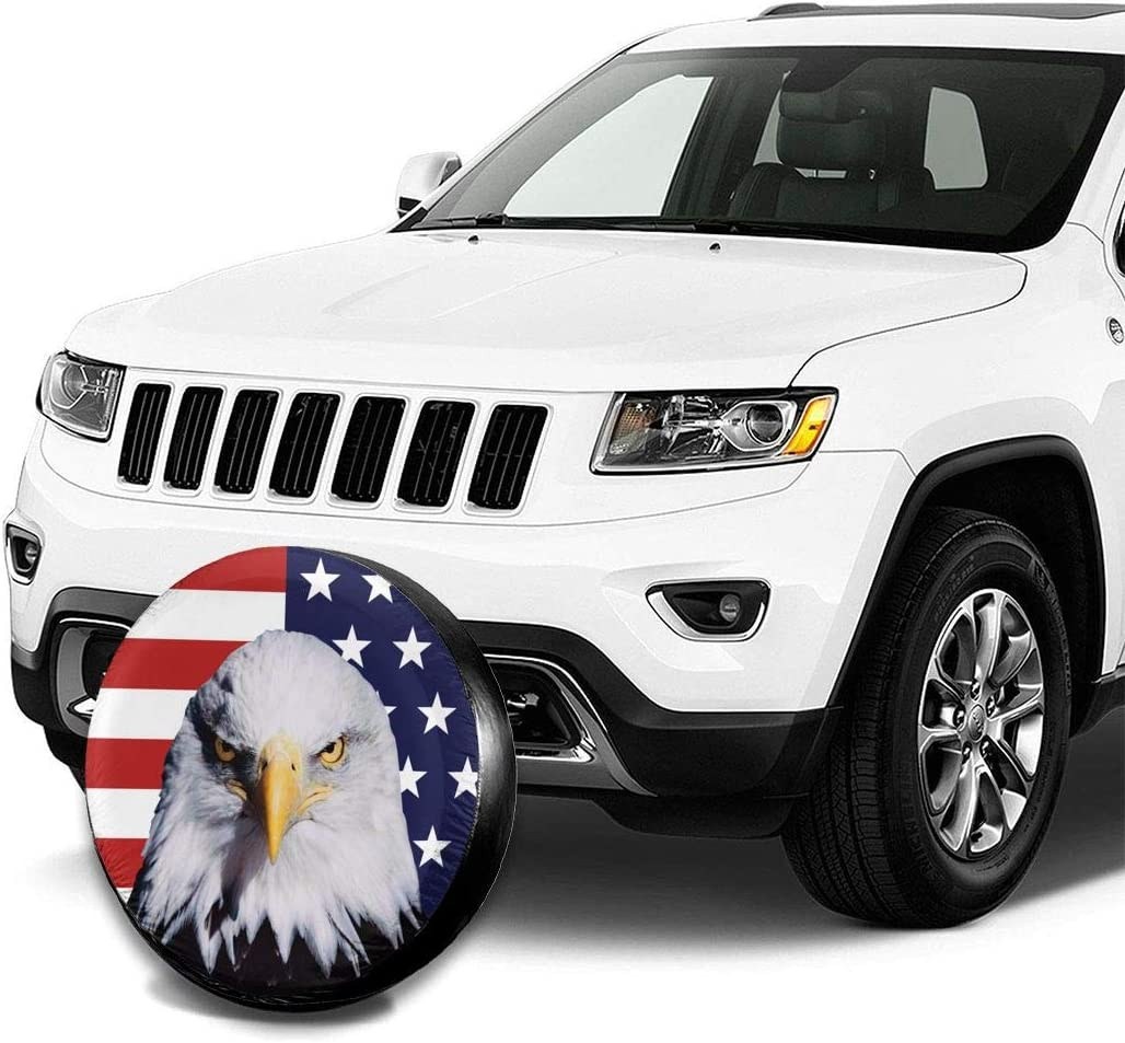 Trailer SUV Truck and Many Vehicle Camper Accessories RV Per Gull Spare Tire Cover American Flag and Bald Eagle Waterproof Dust-Proof Universal Spare Wheel Tire Covers Fit for Jeep