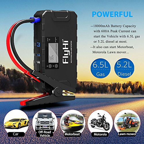 FlyHi 800A 18000mAh Portable Car Jump Starter(Up to 6.5L Gas, 5.2L Diesel Engine) 12V Emergency Battery Booster Pack Built-in Smart Protection, Phone Power Bank(Quick Charge) LED Flashlight by FlyHi (Image #2)