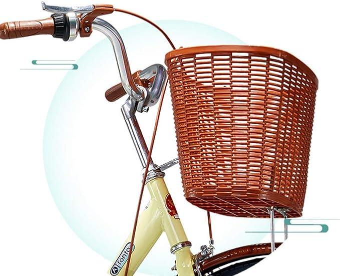AWSW Cesta Delantera de Bicicleta de Mimbre Tradicional Correas de Cuero Cesta Delantera de Bicicleta Cesta de Bicicleta Cesta Plegable de Bicicleta, Cesta Multiusos con asa para Bicicleta: Amazon.es: Hogar