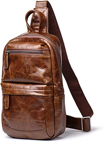 vintage Men's Hand rubbing leather chest bag Business Casual Outdoor Crossbody Sling Bag Brown'style-4