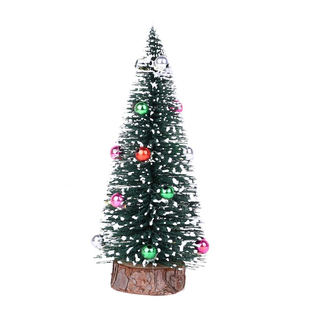 5.9'' Green Pine Tree with Wooden Base Pre-Lit Christmas Tree Artificial Tabletop Christmas Tree with Bauble Festival Miniature Tree for Christmas Decor (D)