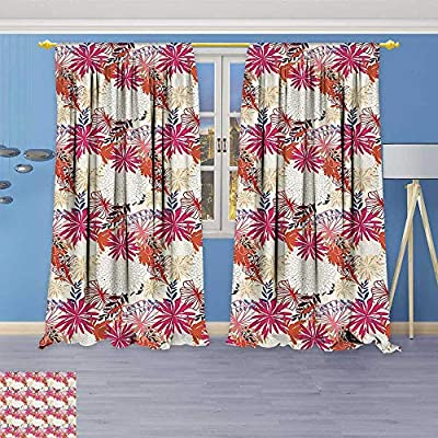 3D Geometry Fashion Design Print Thermal Insulated Blackout Curtain Summer Season Floral Flowers Leaves for Hot Beach House Artwork Print Cream Beige with Top for Bedroom