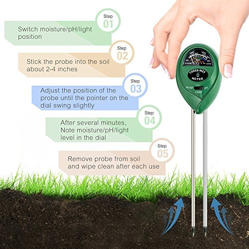 KKmall 3-in-1 Soil Meter with Moisture Light and PH Test Function by KKmall (Image #2)