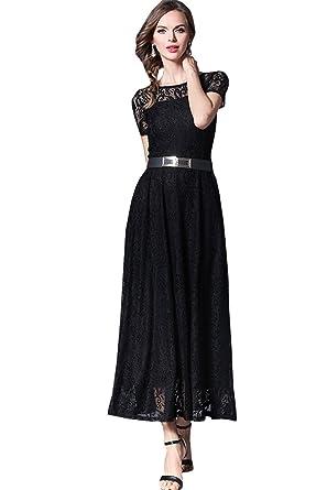 Zumeet Women Long Belt Fasten Lace Covered Party Wedding Dress Black ... a36206b8a