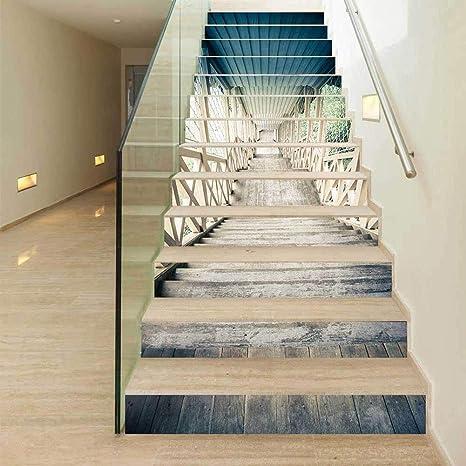 TREES 13pcs 3Dtúnel del Tiempo Escalera Auto - Adhesivo Pegatinas de Pared Adhesivos Decorativos DIY Art Mural escaleras Desmontables, 100cm*18cm: Amazon.es: Hogar