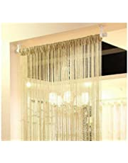 erioctry 2PCS Fashion Silver Ribbon Window Panel Room Divider Strip Tassel Scarf Valance Door Window Room Decorative String Curtain