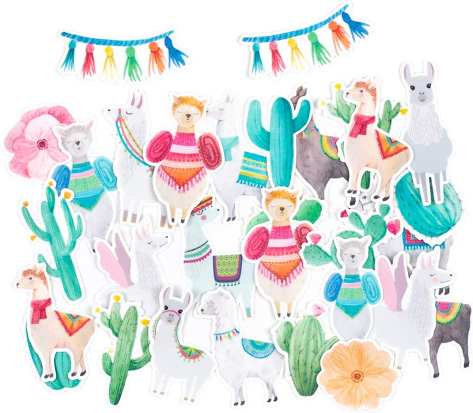 June Cute Llama & Colorful Cactus Stickers (30 Pieces) / Funny Watercolor Stickers for Scrapbooking, Bullet Journals, Planners/Lovely Waterproof Stickers for Water Bottles, Laptops, Phone Cases