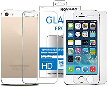 NOVAGO - Protector de Pantalla de Cristal Templado para iPhone 5, iPhone 5S, iPhone SE, 2 Unidades: Amazon.es: Electrónica