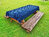 Lunarable Animal Print Outdoor Tablecloth, Vivid Colored Realistic Snake Reptile Skin Pattern Alligator in Blue Artwork Print, Decorative Washable Picnic Table Cloth, 58 X 120 inches, Blue