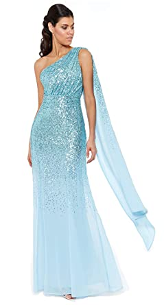 c7286f17 Goddiva Sequin Chiffon Sash One Shoulder Maxi Evening Dress Bridesmaid Prom  (8, Blue)