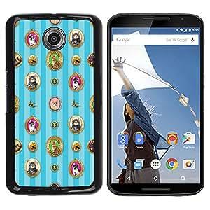 Qstar Arte & diseño plástico duro Fundas Cover Cubre Hard Case Cover para Motorola NEXUS 6 / X / Moto X Pro ( Wallpaper Cats Portrait Feline Framed Photo)