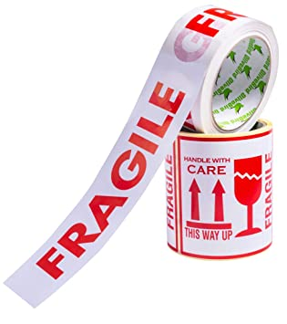 100 x Fragile Stickers Large Size 10X10CM and 1 x Roll Fragile Pack... SET of 2