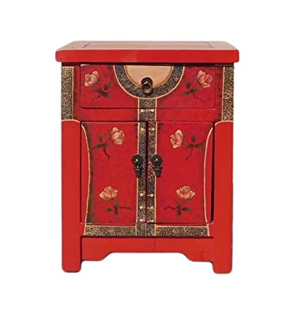 Attrayant Chinese Red Oriental Dress Graphic End Table Nightstand Acs1308