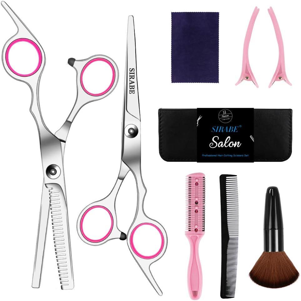 Sirabe 9 Pcs Hair Cutting Scissors Set Hairdressing Scissors Kit,Thinning Scissor,Neck Duster,Hair Comb,Leather Scissors Case,Professional Barber Salon Home Shear Kit For Men Women Pet: Home Improvement
