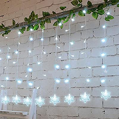 MaLivent Star Snowflake Curtain Lights Waterproof Christmas Window Wall Stairs Decorative LED Fairy String Lights UL Listed for Home Bedroom Wedding Patio Garden