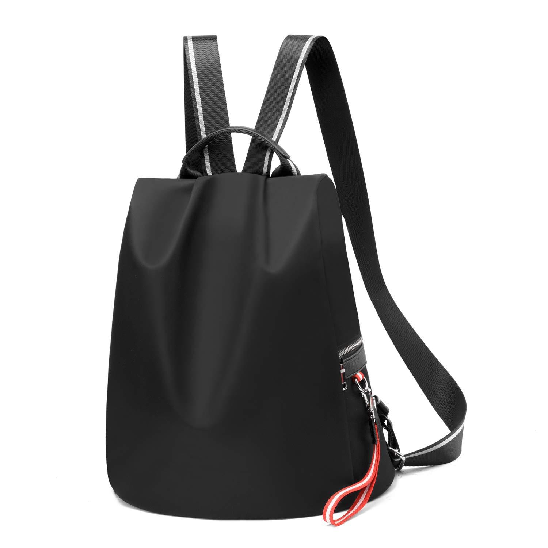 Backpack Purse for Women Waterproof Nylon Anti-theft Fashion Lightweight School Travel Shoulder Bag(Black)