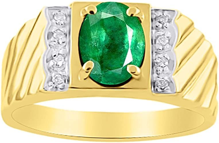 Solid 14K Black Gold Finish 925 Sterling Silver Round Cut Green Emerald Mens Band Engagement Wedding Ring