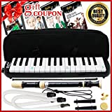 vintage melodica - Melodica Keyboard Wind Instrument with Mouthpiece (32-Keys) Beginners Learn to Play Music, Sounds, Songs   Includes Training Ebooks and Soprano Recorder (Black)